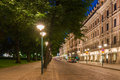 Helsinki Street View at Night Royalty Free Stock Photo