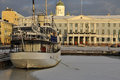Helsinki town hall and old port in winter scene of frozen all ship historical building finland Stock Photos