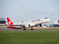 Helvetic Airways Embraer 190 landing at Prague Airport Royalty Free Stock Photo