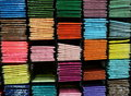 Hem fabric in colorful on shelf Royalty Free Stock Photography
