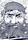 Old seaman monochrome portrait illustration Royalty Free Stock Photo