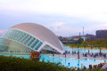 The hemispheric valencia spain  november people walking near reflection pool at building in city of arts and sciences in Royalty Free Stock Photo