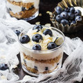 image photo : Homemade yogurt with granola muesli and blueberries