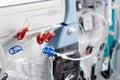 Hemodialysis bloodline tubes in dialysis machine Royalty Free Stock Photo