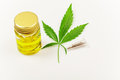 Hemp cannabis oil in the white background Royalty Free Stock Photo
