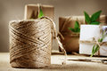 Hemp cord spool with gift box rustic natural style handcrafted boxes Stock Photo