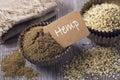 Hemp flour and seeds Royalty Free Stock Photo