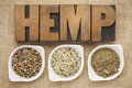 Hemp seeds hearts and prtotein products shelled protein powder in small ceramic bowls on burlap canvas with word spelled in Stock Images