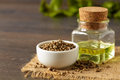 Hemp seeds and oil Royalty Free Stock Photo