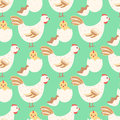 Hen and baby chicken seamless pattern Royalty Free Stock Photo