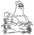 Hen brooding eggs for coloring illustration Royalty Free Stock Photo