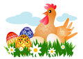 Hen with easter eggs on the meadow vector illustration Stock Photography