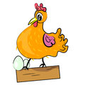 Hen with eggs cartoon illustration Stock Photography