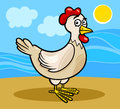 Hen farm animal cartoon illustration of funny or chicken bird Stock Images