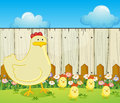 A hen and the four chicks illustration of Royalty Free Stock Photography