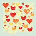 Hen and hearts Royalty Free Stock Images
