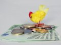 Hen laying golden eggs on heap of euro banknotes Royalty Free Stock Image