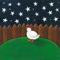 Hen looking at the night sky Royalty Free Stock Photos