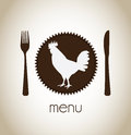 Hen menu over vintage background vector illustration Royalty Free Stock Photography
