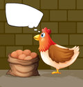 A hen near a sack of eggs thinking illustration Royalty Free Stock Image