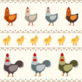 Hen, rooster and chicken flat vector illustration. Seamless pattern