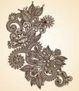 Henna στοιχείων σχεδίου fower Στοκ Φωτογραφίες