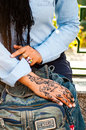 Henna art on woman s hand in cairo egypt Royalty Free Stock Photos