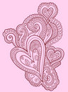 Henna doodle Heart design Stock Photos