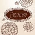 Henna Frame and Flower Doodle Vector Designs Royalty Free Stock Photo