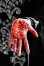 Henna hand tattoo body art tradition black and white mix Royalty Free Stock Photo
