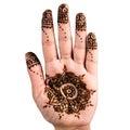 Henna hand tattoo decoration art clipping path square Royalty Free Stock Photo