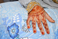 Henna on hands of indonesian wedding bride Royalty Free Stock Photos