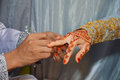 Henna on hands of indonesian wedding bride Stock Photography