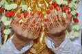 Henna on hands of indonesian wedding bride Royalty Free Stock Image