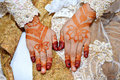 Henna on hands of indonesian wedding bride Stock Images