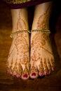 Henna (mehendi) on Indian bride's feet Royalty Free Stock Photos