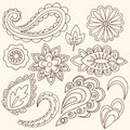 Henna Mehndi Flowers and Paisley Vector Stock Image