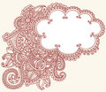 Henna Mehndi Paisley Cloud Doodle Design Royalty Free Stock Photo