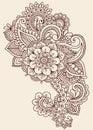 Henna Mehndi Paisley Doodle Vector Design Stock Images
