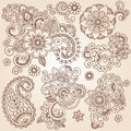 Henna Mehndi Paisley Flowers Vector Tattoo Illustr