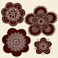 Henna Mehndi Tattoo Flower Silhouettes Vector Royalty Free Stock Photography