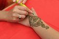Henna painted hand Royalty Free Stock Photo
