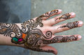 Henna painted hand decorations Royalty Free Stock Photo
