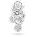 Henna paisley mehndi doodles design element abstract floral vector illustration black and white version Stock Photography