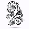 Henna paisley mehndi doodles design element abstract floral vector illustration black and white version Royalty Free Stock Photo