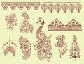 Henna tattoo brown mehndi flower doodle ornamental decorative