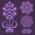 Henna tattoo brown mehndi flower doodle ornamental decorative indian design pattern paisley arabesque mhendi Royalty Free Stock Photo