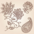 Henna Tattoo Flower Doodle Vector Design Elements Royalty Free Stock Photo