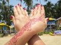 Henna tattoo on the hand Royalty Free Stock Photo