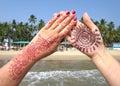 Henna tattoo on the hand. Royalty Free Stock Photo